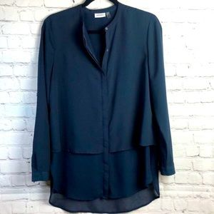 DKNYC. Navy blue button up blouse with sheer hem S